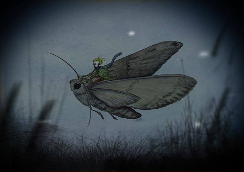 Titel: Der Nachtschwärmer, Aquarell, Digital nachbearbeitet