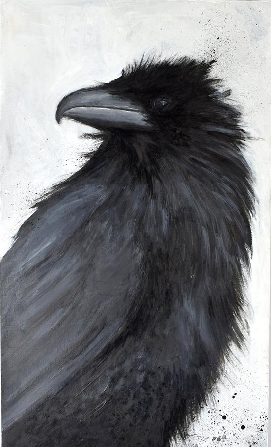 Titel: Krähe, Acryl auf Holz