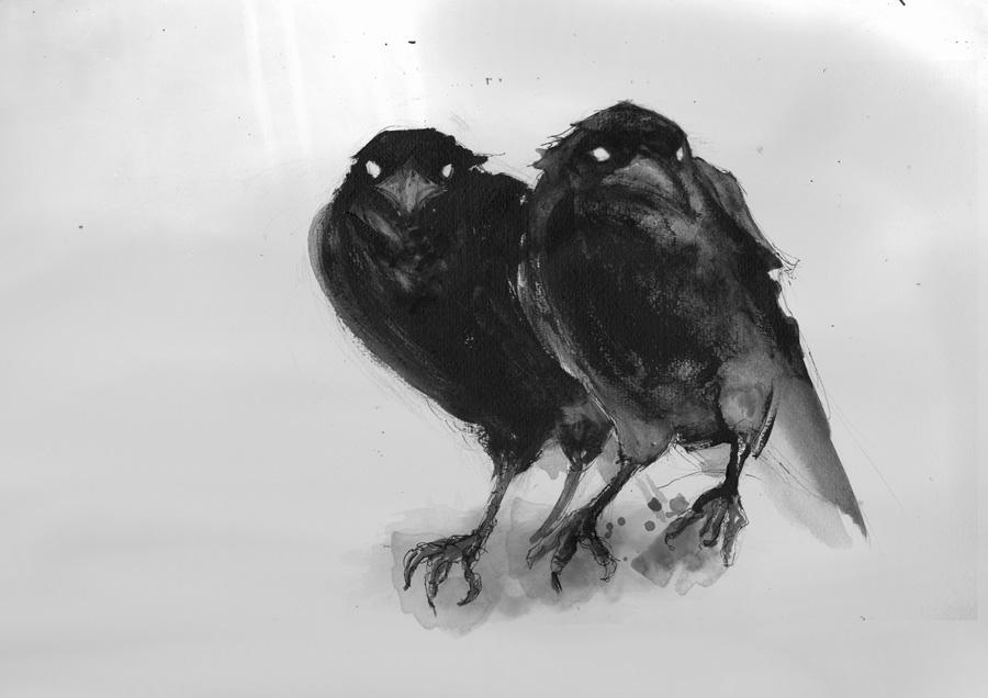 Crow, Tusche, Digitale Nachbearbeitung