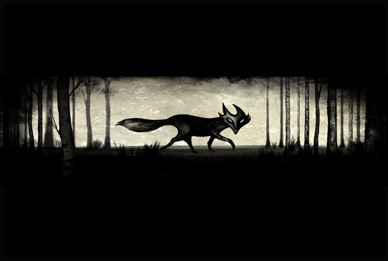 Titel: Black Fox, Tusche, digitale Nachbearbeitung