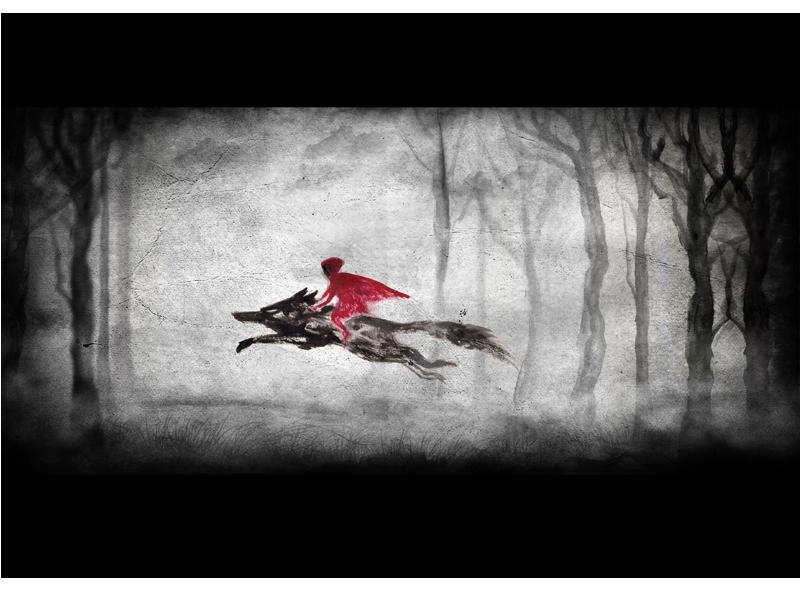 Titel: Rotkäppchen und der Wolf, digitale Nachbearbeitung