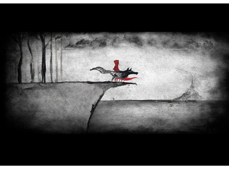Titel: Rotkäppchen und der Wolf,digitale Nachbearbeitung