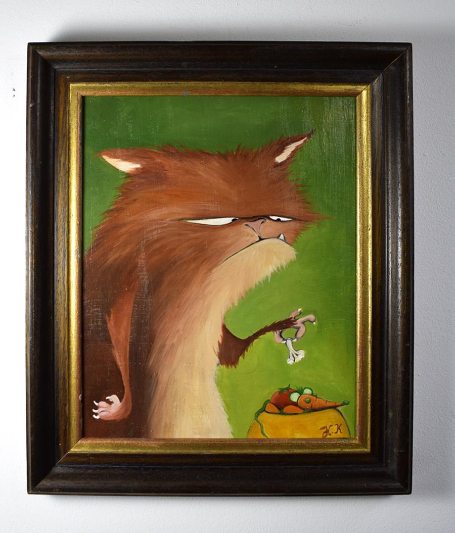Titel: Veggi Cat - Original  Acryl auf Holz (gerahmt) - Verkauft