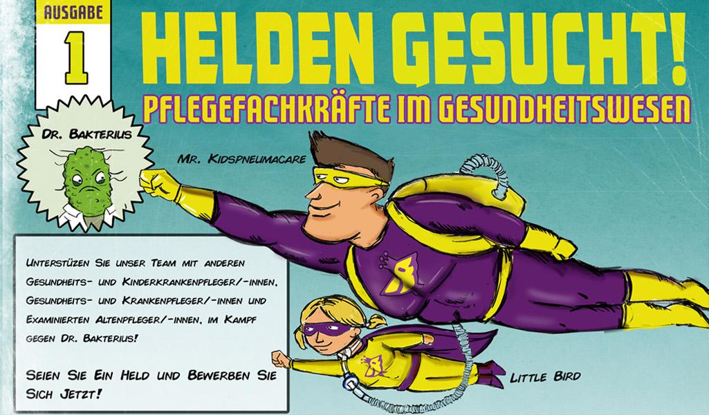 """Comickampagne """"Helden gesucht"""" Webbanner als Comiccover mit Superhelden"""