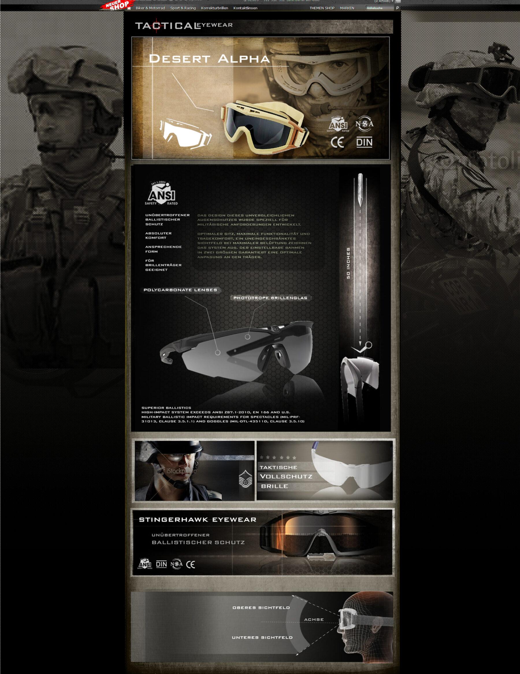 Entwurf für  die Website von Tactical Eyewear Schutzbrillen Produkt: Tactical-Brillen 2013/2014