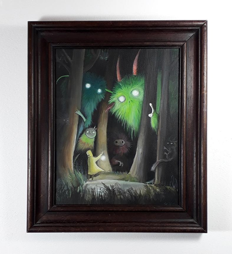 Titel: Der Zauberwald-  Acryl auf Leinkarton (gerahmt) - Verkauft
