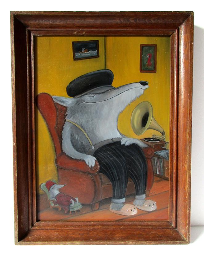Titel: Grammophon - Acryl auf Holz (gerahmt) - Verkauft