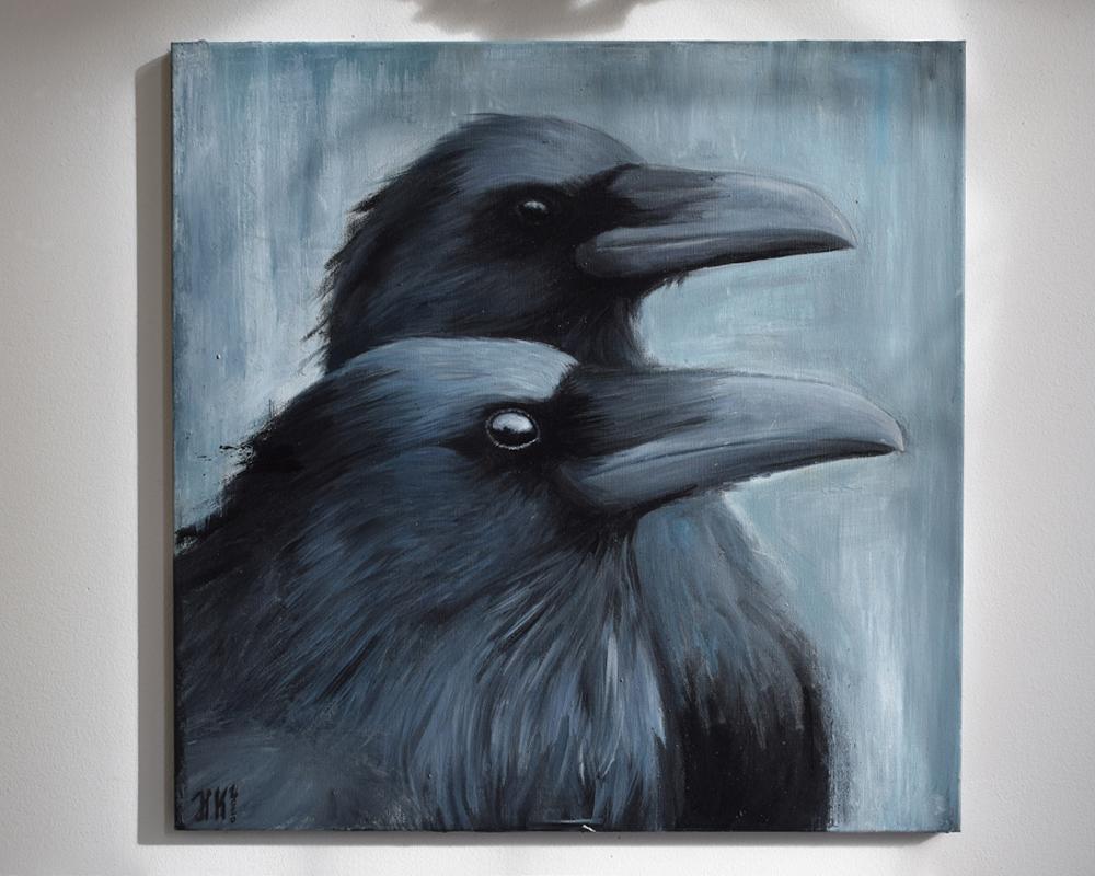 Titel: Die Krähen - 50 cm x 50 cm - Acryl auf Leinwand