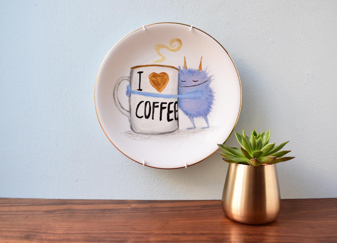 Wandteller: I Love Coffee Zum Shop